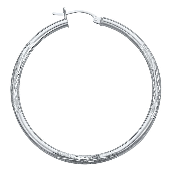 14K White Gold Satin Hoop Earrings- 3/4 Inch