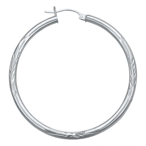 14K White Gold Satin Hoop Earrings-1 Inch