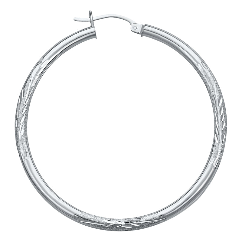 14K White Gold Satin Hoops Earrings- 1.50 Inch