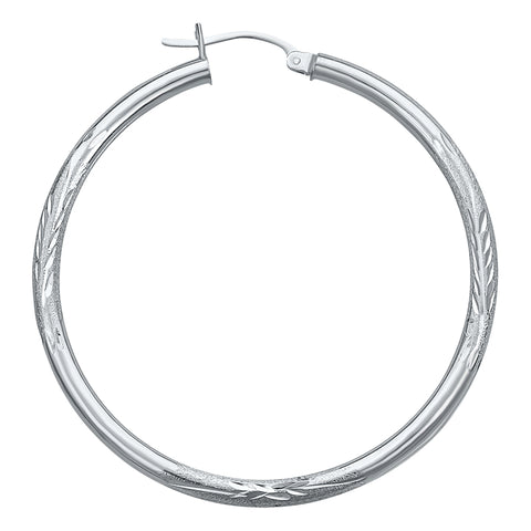 14K White Gold Satin Hoops Earrings- 1.75 Inch