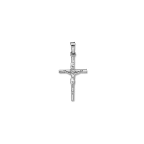 "14kt White Gold Crucifix - Solid - 1"" x 1/2"""