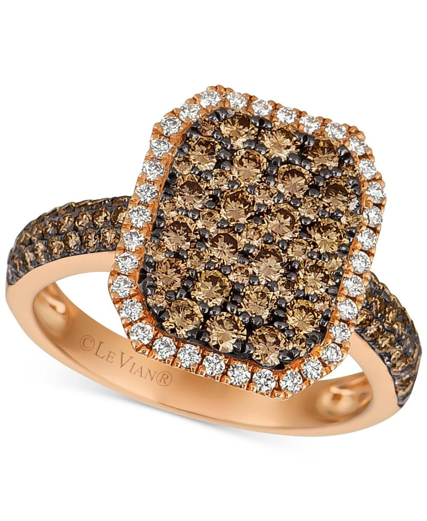 Le Vian Chocolatier® Diamond Cluster Halo Ring (1-1/2 ct. t.w.) in 14k Rose Gold