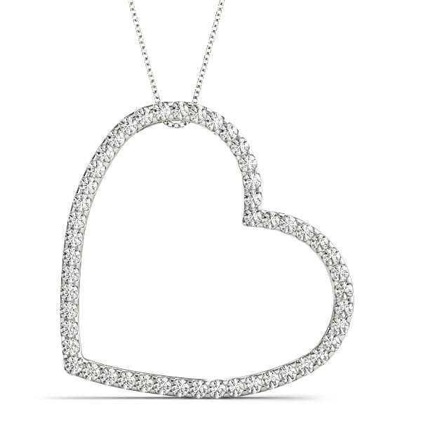 14kt White Gold Diamond Heart Necklace - Dia. .50ct