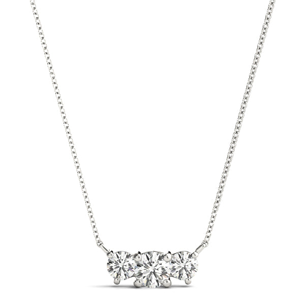 14kt Gold Three Stone Diamond Necklace - Dia.50ct