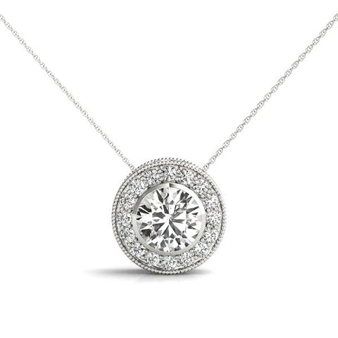 14kt Gold Diamond 'Halo' Pendant - Dia.50ct