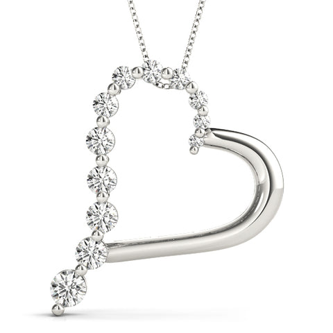 14kt Gold Diamond Heart Necklace - Dia.75ct
