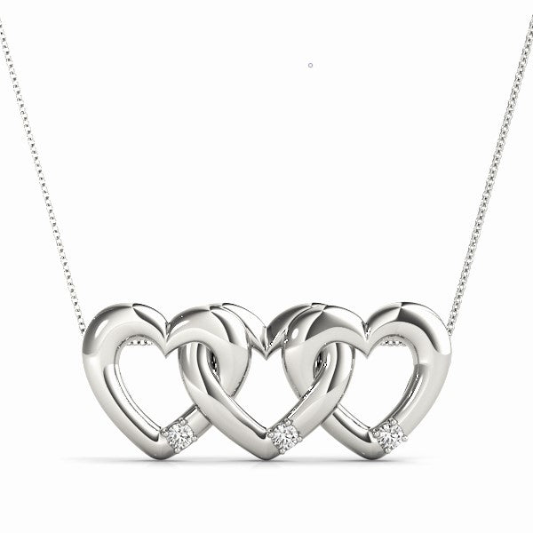 14kt Gold Three Hearts Necklace with Diamonds - Dia.10ct