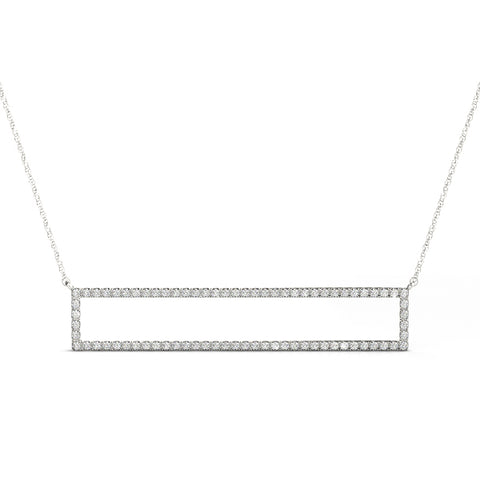 14kt Gold Rectangular Diamond Necklace - Dia.38ct