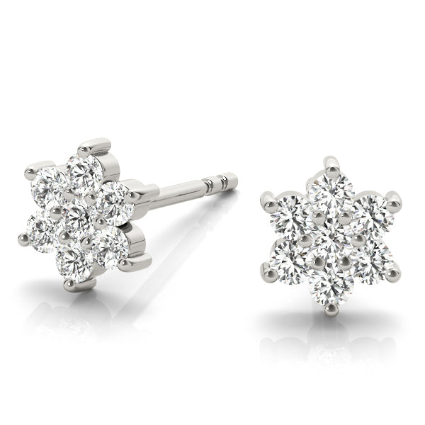 14kt Gold Diamond Cluster Earrings - D.20ct