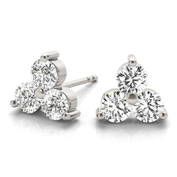 14kt Gold Three Stone Diamond Earrings - 1ct.