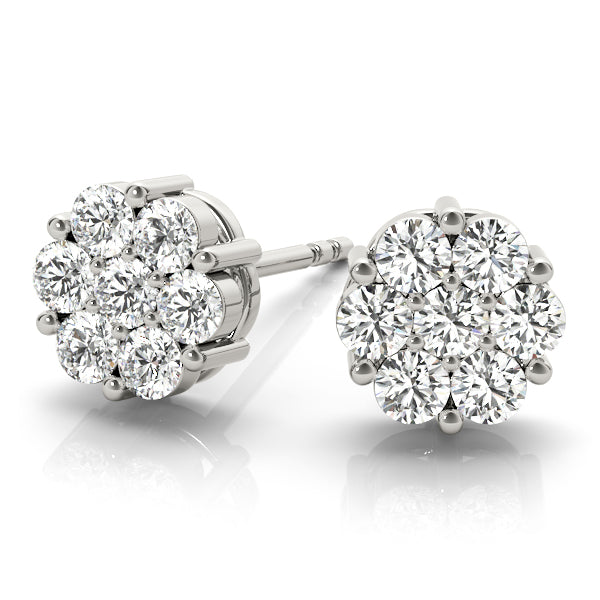 14kt Gold Diamond Cluster Earrings - D.25ct