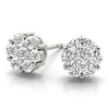 14kt Gold Diamond Cluster Earrings - D.50ct