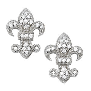 14kt Gold 'Fleue de lis' Earrings with Diamonds - D.25ct