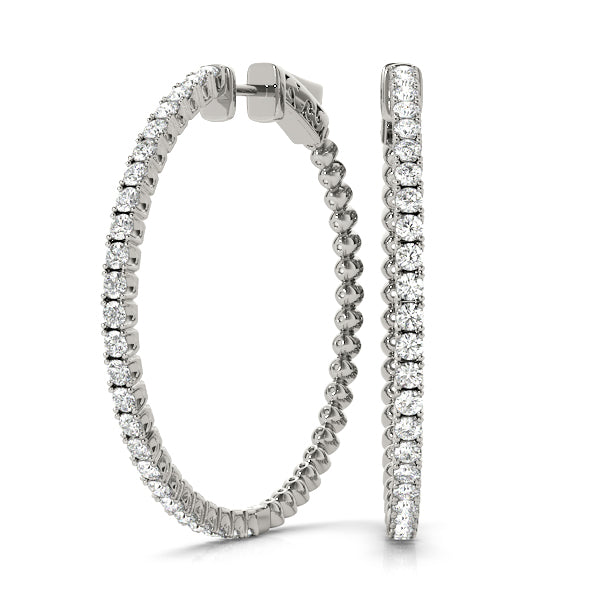 14kt Gold Diamond Hoop Earrings - 35mm - 1ct.
