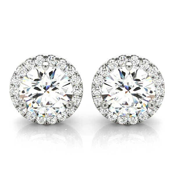 14kt Gold 'Halo' Diamond Earrings - Dia.80ct