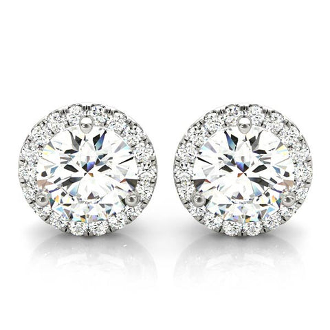 14kt Gold 'Halo' Diamond Earrings - D.62ct