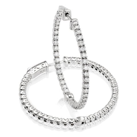 14kt Gold In/Out Diamond Hoop Earrings -1.60ct.-35mm