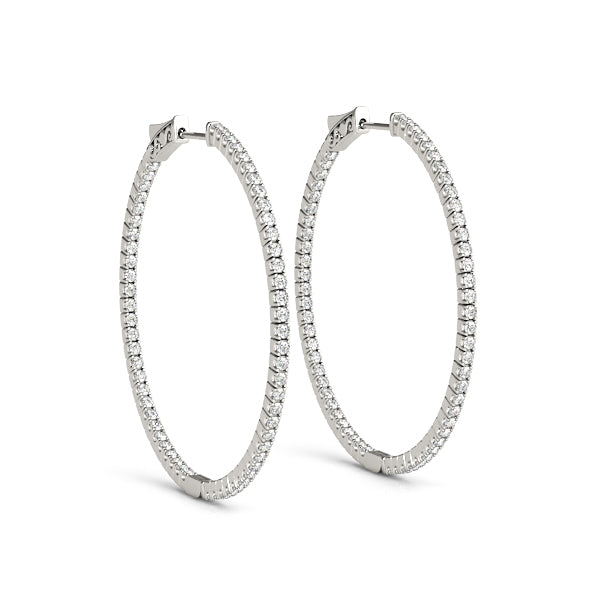 14kt Gold Diamond Hoop Earrings-40mm-1.25ct