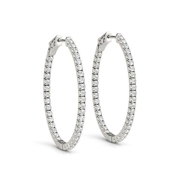 14kt Gold Oval Shaped Diamond Hoop Earrings - 47mm - 1.25ct