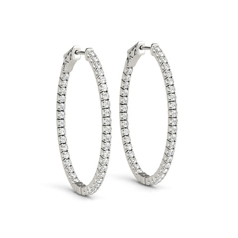 14kt Gold Oval Diamond Hoops Earrings- 34mm - .75ct