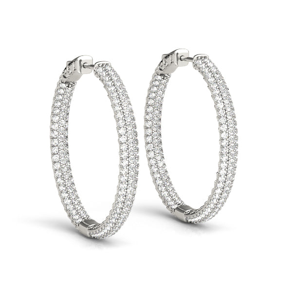 14kt  Gold Diamond Hoop Earrings - 16mm - 1ct.