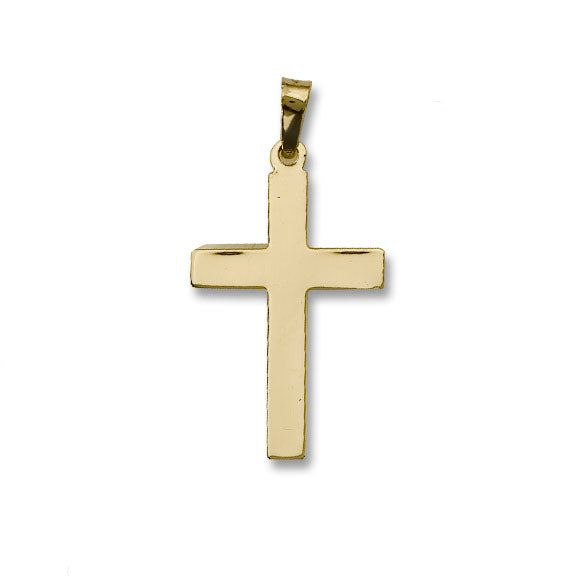 14kt Gold Cross - Plain High Polished - 1 1/2 Inch