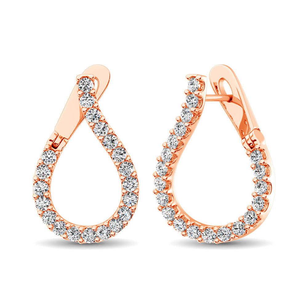 14K Rose Gold Diamond 5/8 Ct.Tw. Hoop Earrings