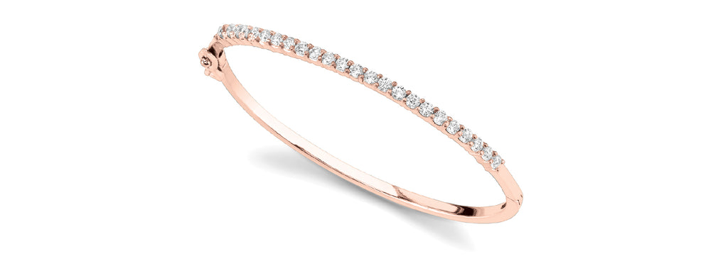 14kt Rose Gold Diamond Bangle Bracelet - Dia. 2ct