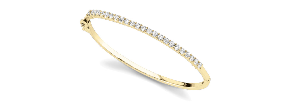 14kt Gold Yellow Gold Diamond Bangle Bracelet - Dia. 2ct