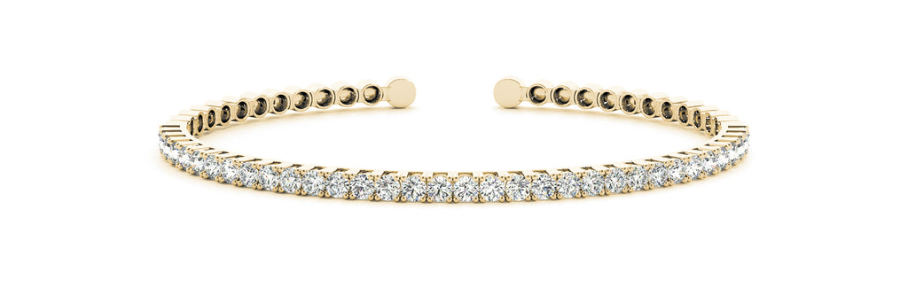 14kt Yellow Gold Diamond Cuff Bangle Bracelet- Dia.1ct