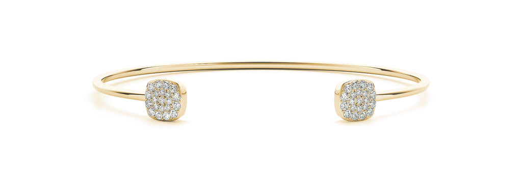 14kt Yellow Gold Open Cuff Stackable Diamond Bangle Bracelet - Dia .35ct