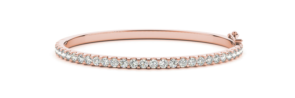 14kt Rose Gold Diamond Cuff Bangle Bracelet - Dia. 1.25ct