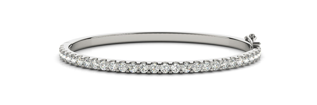 14kt White Gold Diamond Cuff Bangle Bracelet - Dia. 1.25ct