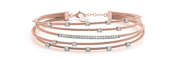 14kt Rose Gold Flexible Diamond Bangle Bracelet - Dia.65ct