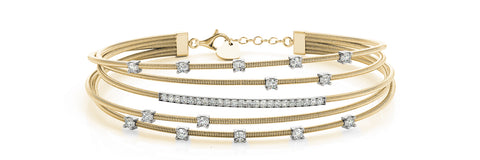 14kt Yellow Gold Flexible Diamond Bangle Bracelet - Dia.65ct