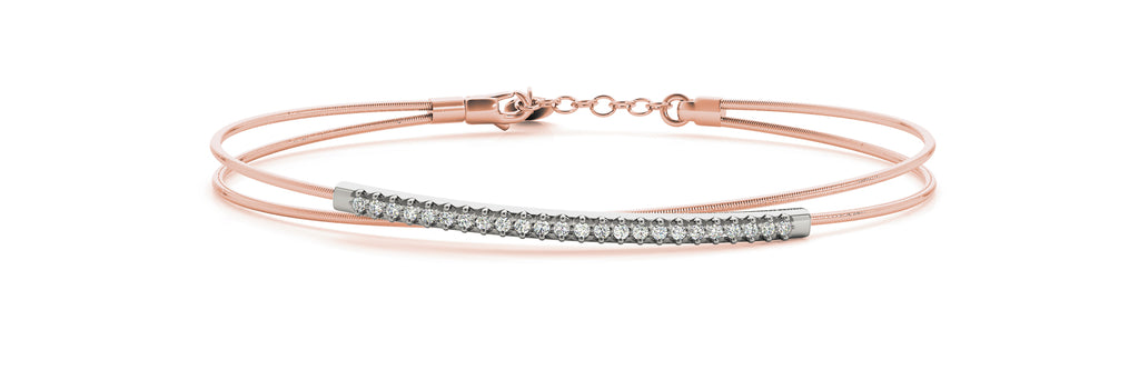 14kt Rose Gold Flexible Diamond Bangle Bracelet - Dia.17ct