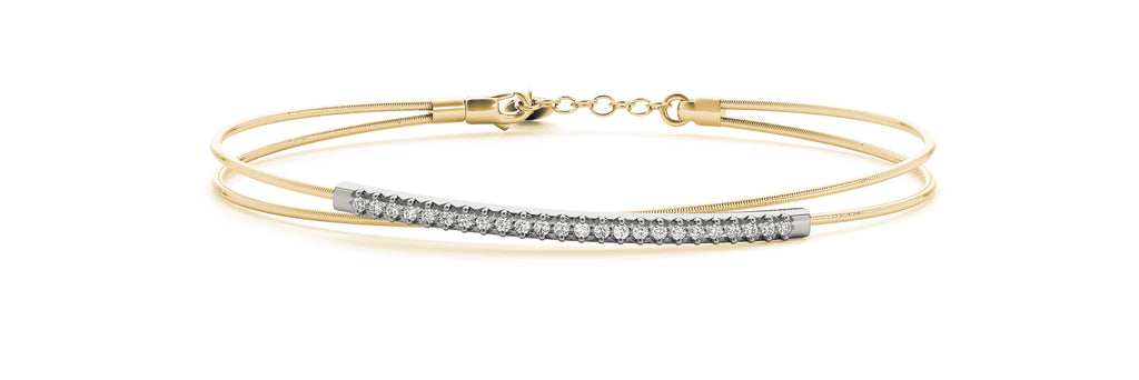 14kt Yellow Gold Flexible Diamond Bangle Bracelet - Dia.17ct