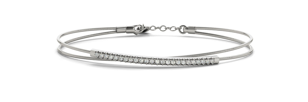14kt White Gold Flexible Diamond Bangle Bracelet - Dia.17ct