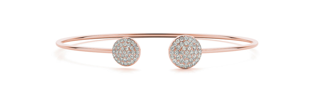 14kt Rose Gold Open Cuff Diamond Bangle Bracelet - Dia .50ct