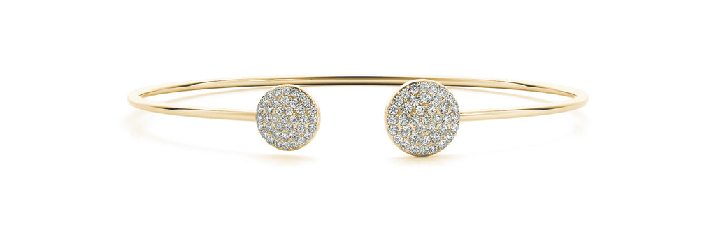 14kt Yellow Gold Open Cuff Diamond Bangle Bracelet - Dia .50ct