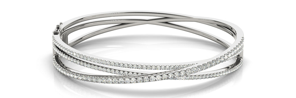 14kt White Gold Diamond Bangle Bracelet - Dia.2.25ct