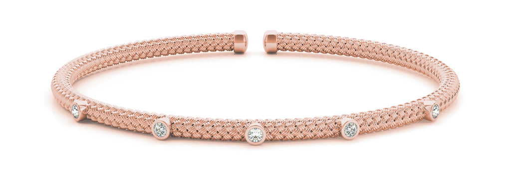 14kt Rose Gold Diamond Cuff Bangle Bracelet - Dia.10ct