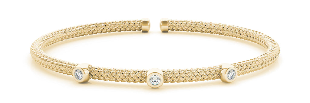 14kt Yellow Gold Diamond Cuff Bangle Bracelet - Dia.06ct