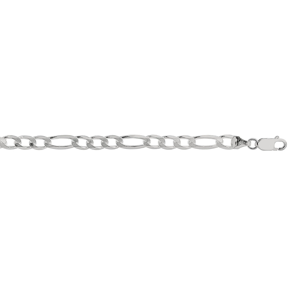 Silver 8.5 inches with Rhodium Finish 5.5mm Diamond Cut Figaro Chain with Lobster Clasp