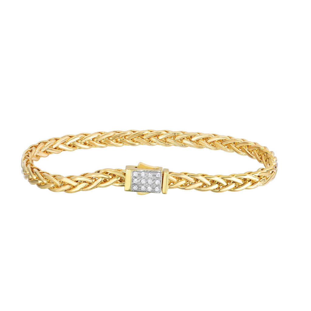 14kt 7.5 inches Yellow Gold Shiny Finish Fancy Woven Braided Bracelet with Box Clasp+Diamond
