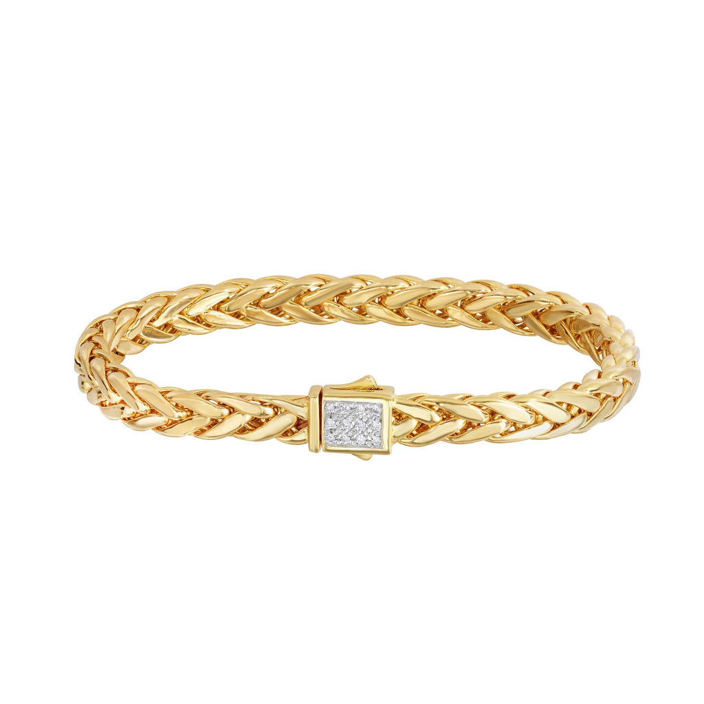 14kt 7.5 inches Yellow Gold Shiny Fancy Flat Weaved Braided Bracelet with Box Clasp+0.12ct. Diamond