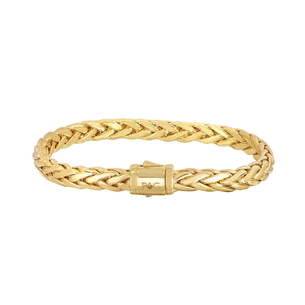 14kt 7.5 inches Yellow Gold Shiny Fancy Oval Weaved Braided Bracelet with Box Clasp