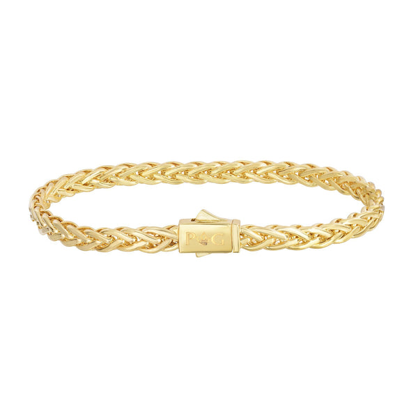 14kt 7.5 inches Yellow Gold Shiny Fancy Weaved Braided Bracelet with Box Clasp