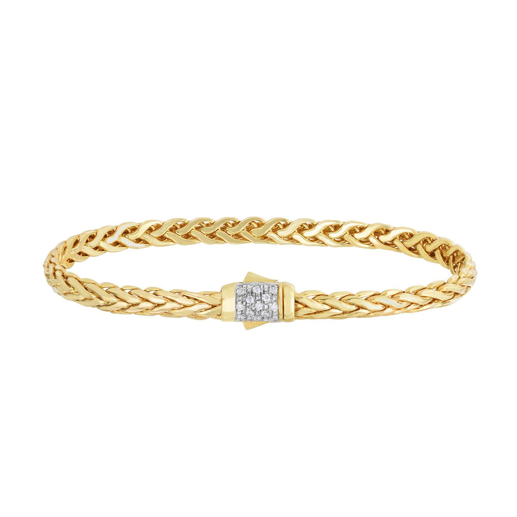 14kt 7.5 inches Yellow Gold Shiny Finish Fancy Woven Braided Bracelet with Box Clasp+0.13ct. Diamond