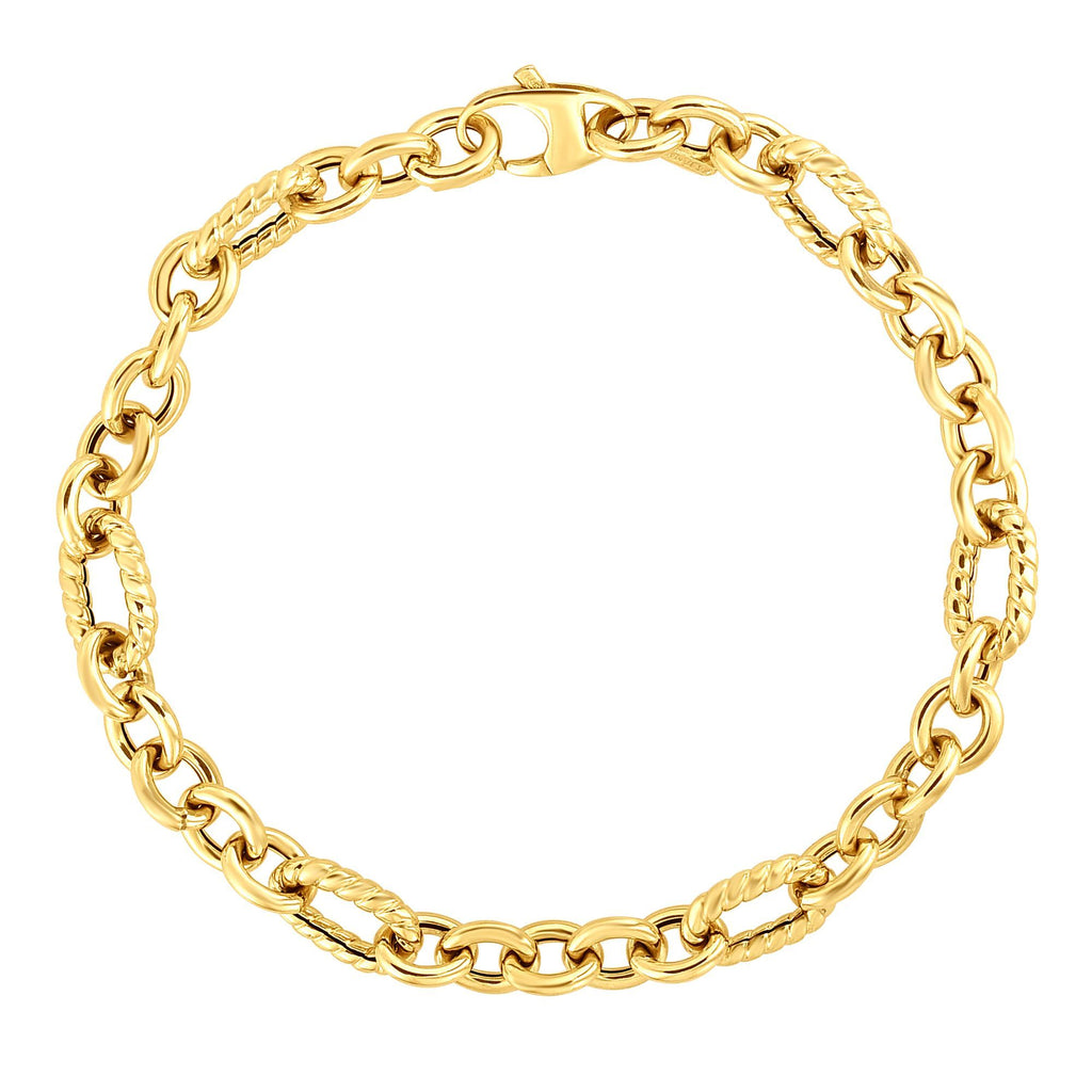 14kt Gold 7.5 inches Yellow Finish 6.6mm Shiny+Textured Oval Fancy Bracelet with Lobster Clasp